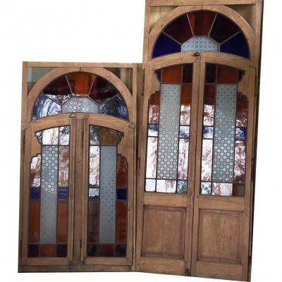 Set Of French Window  - Window - Transom Stained Glass Stained Glass Art Nouveau Nancy Door