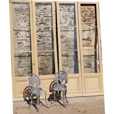 Grande Hauteur 3 Paires De Portes Fenêtres  XIXème En Chêne Boiserie Porte Ancienne