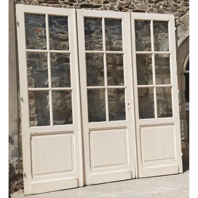 3 Portes Anciennes Vitrées Baie Cloison Vitrée Porte Ancienne No2 - 9 Carreaux -