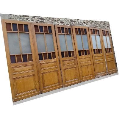 Série De 6 Portes Vitrées Ancienne Vitrine Bibliothèque Cloison Porte
