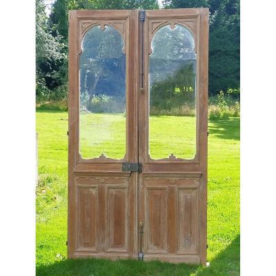 2 Double Glass Doors Old Late Nineteenth In Oak Orangery Workshop Porte