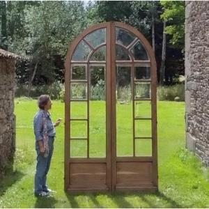 Bright Large Old French Orangery French Door In Oak With Its Loft Workshop Doors Frame