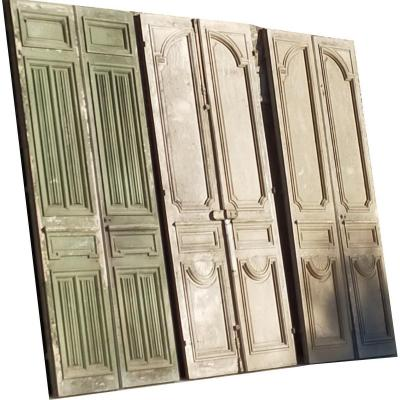 Qté 3 Grandes Double Portes Ancienne d'Apparat Pour Grands Volumes Porte Boiserie Prestigieux