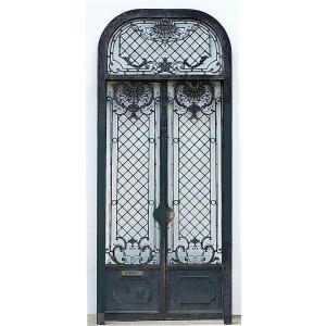 Superbe Porte d'Entrée Ancienne 1880 Fer Forgé Croisette Cannes Prestigieux Portes