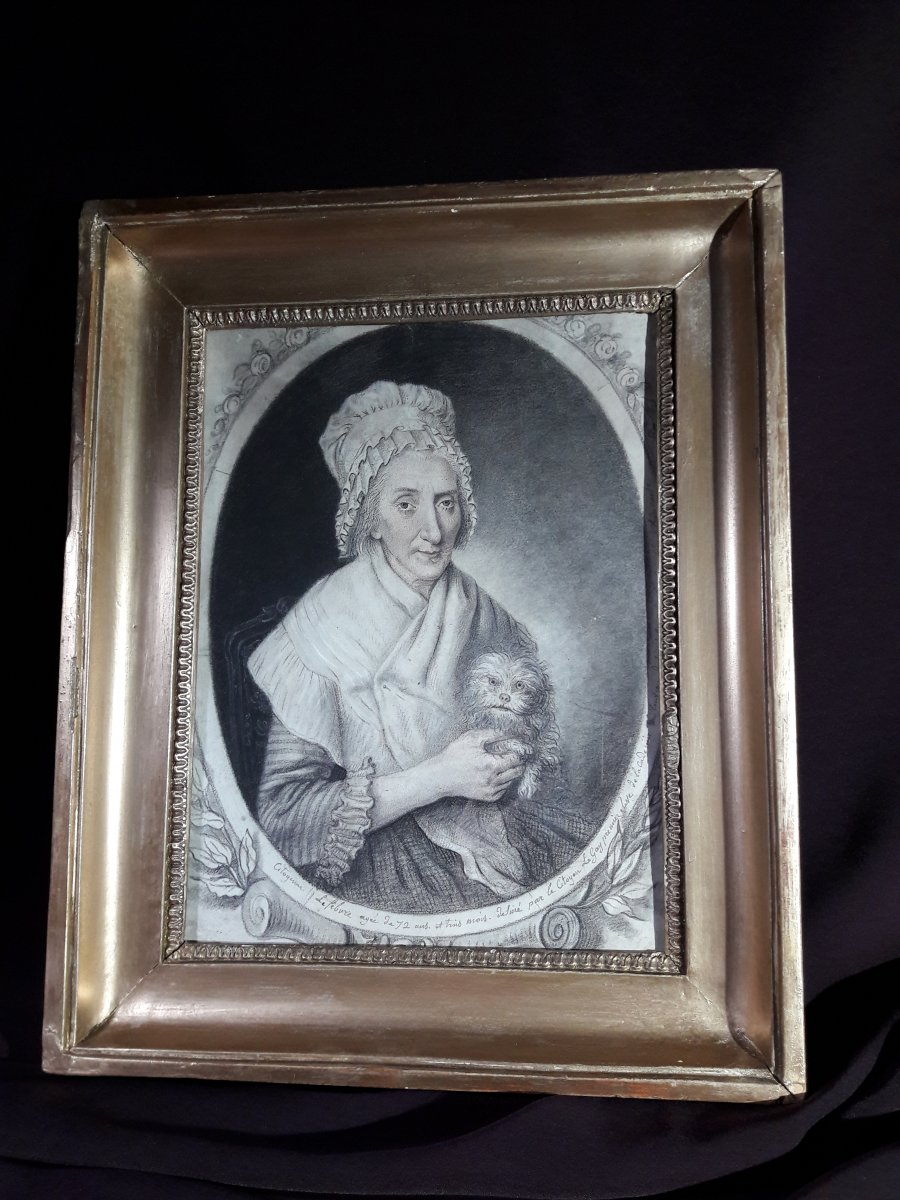Portrait Of Lady With Dog Period Late 18th Century