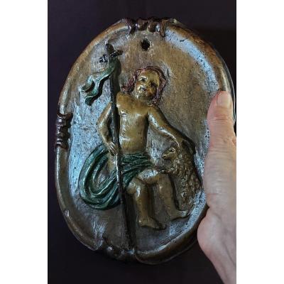 Saint Jean Baptiste Sur Panneau De Bois 17e Siècle