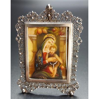 Miniature : Vierge à l'Enfant Cadre Argent