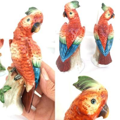 Perroquets En Porcelaine (paire De) Circa 1900