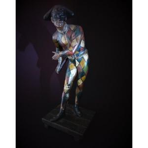 Arlequin : Statue En Régule Epoque Fin 19e Siècle