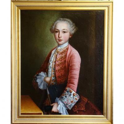 Portrait d'Un Jeune Gentilhomme d'Epoque Louis XV