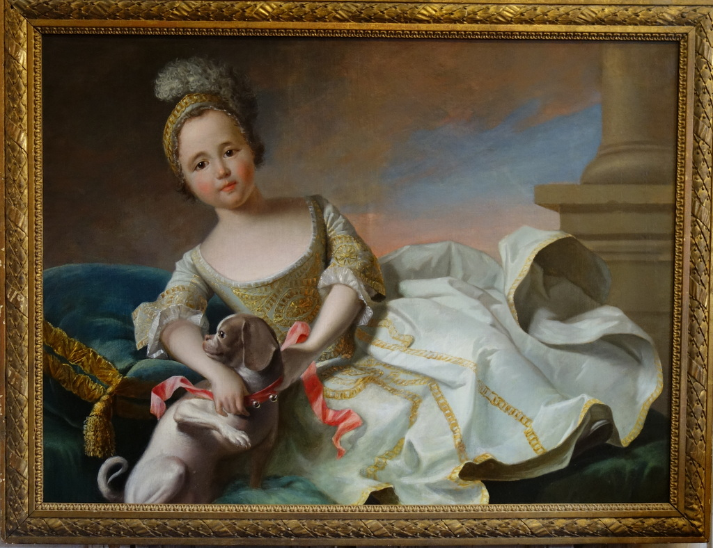 Portrait d'Une Enfant Avec Son Chien Epoque Louis XV