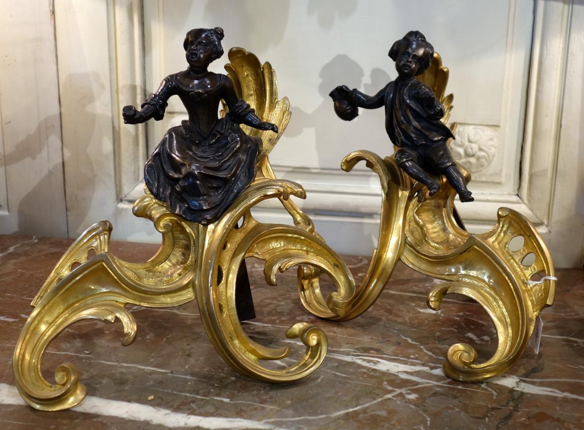 Paire De Chenets Epoque Louis XV