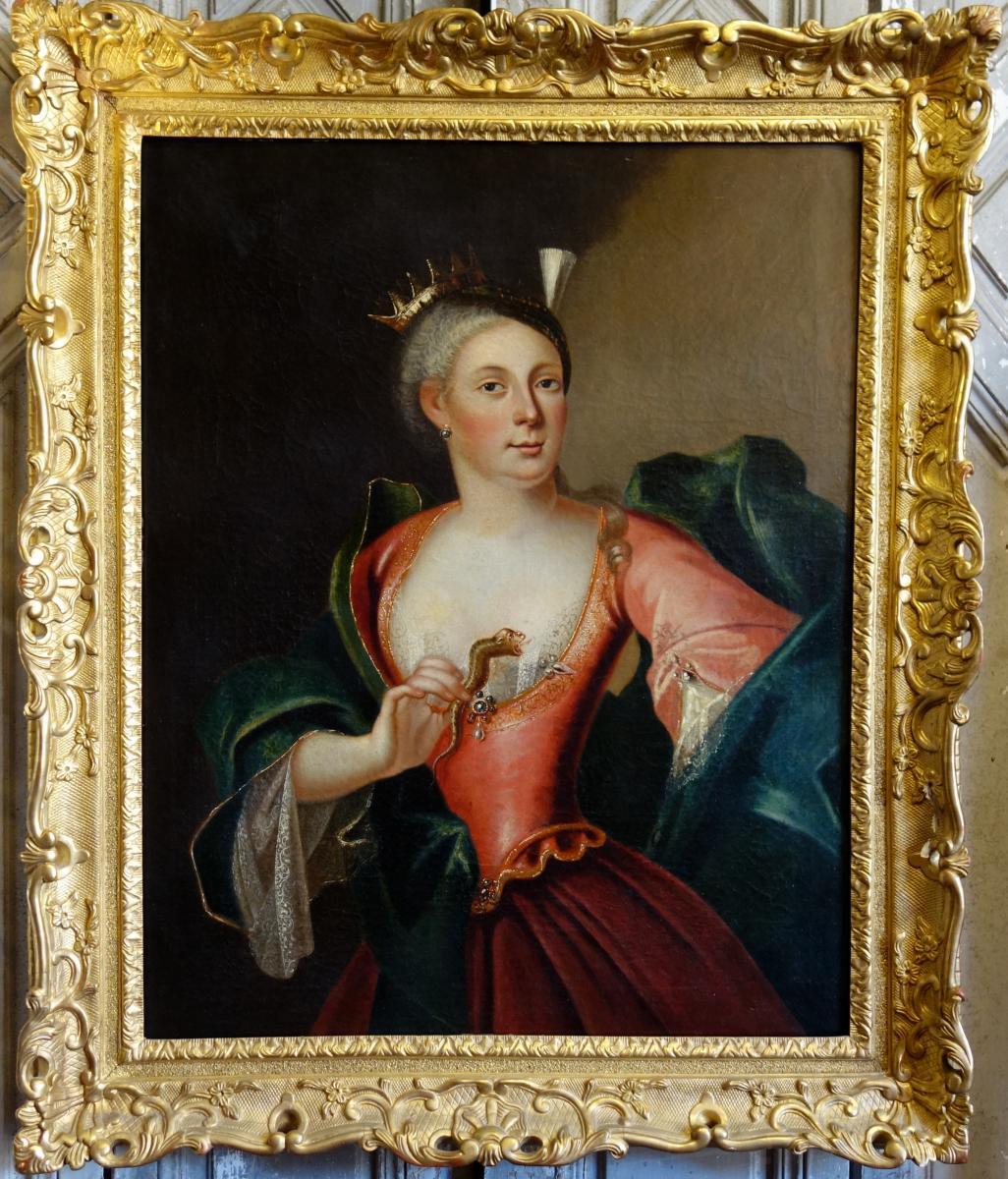 Portrait De Femme En Cléopâtre Epoque XVIIIème Siècle