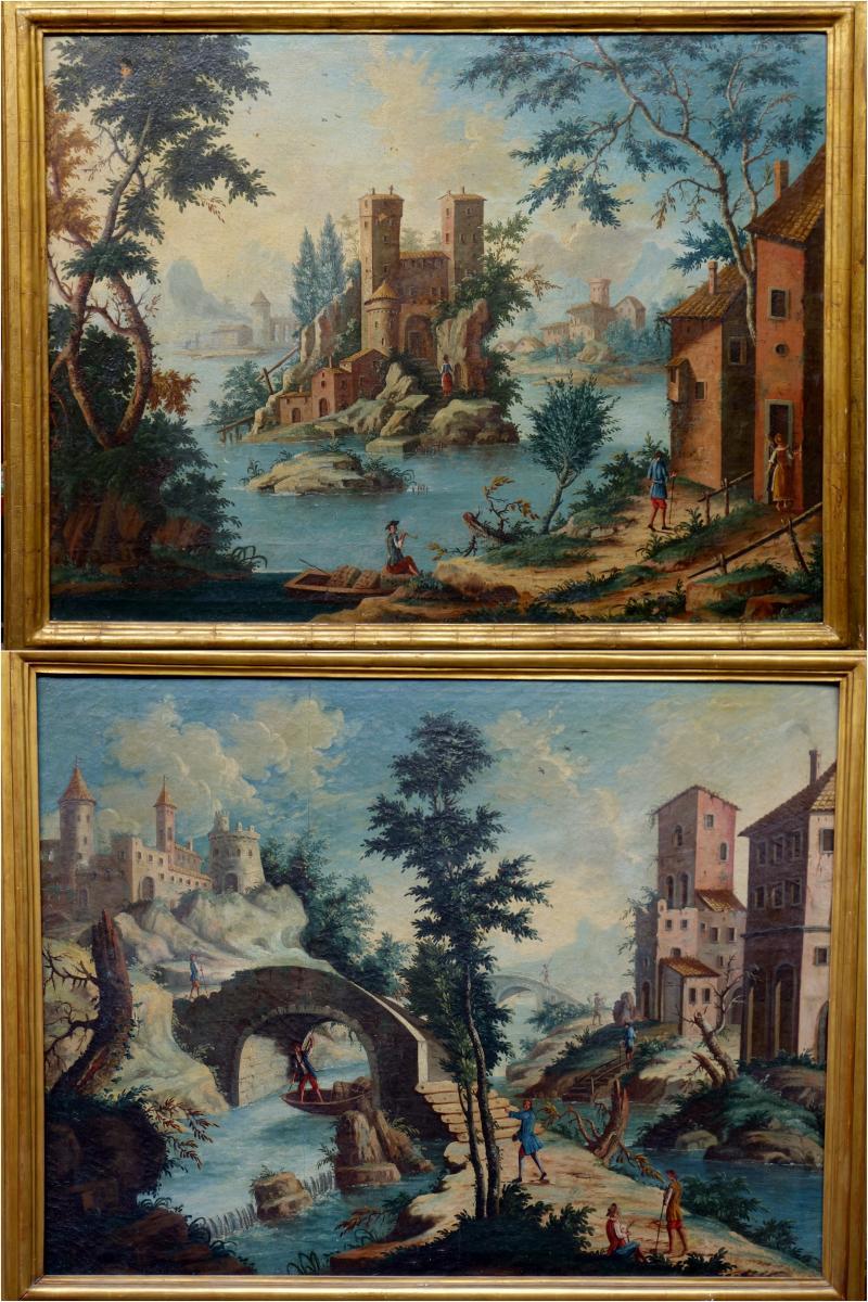 Pair Of Oil On Canvas Epoque Eighteenth Century