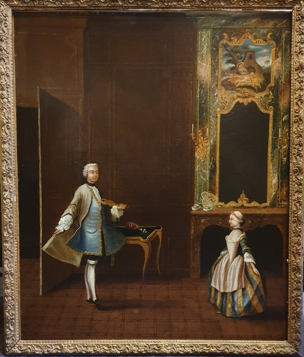 """Huile sur Toile, """" Le Maître de Danse """"  Epoque Louis XV"""