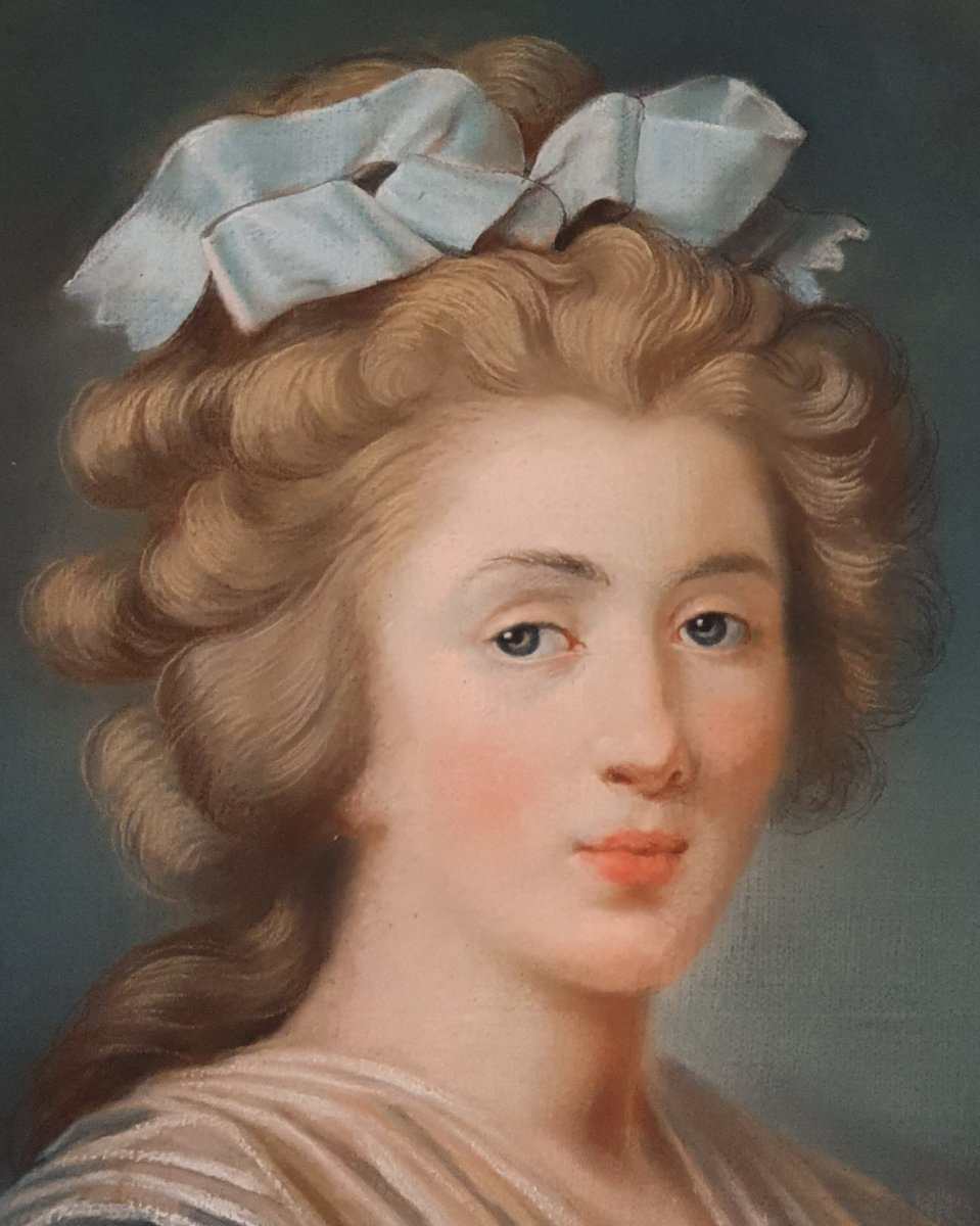 Pastel d'Une Jeune Femme Epoque Louis XVI