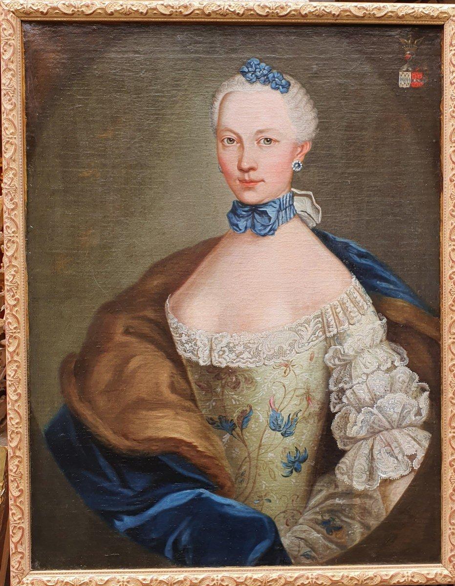 Portrait De  Marie Josephine Barbe Claire De La Mock Epoque Louis XV-photo-2