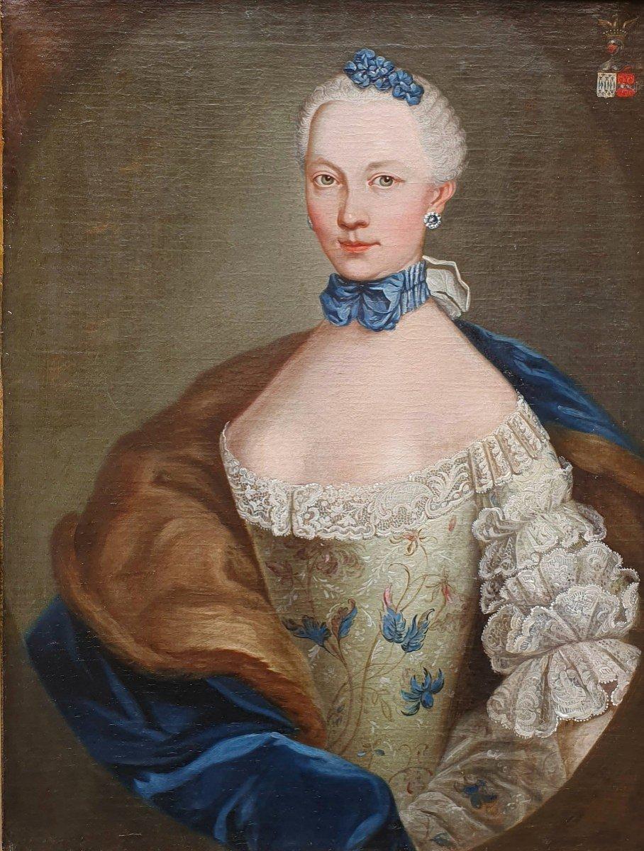 Portrait De  Marie Josephine Barbe Claire De La Mock Epoque Louis XV