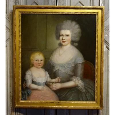 Portrait de Femme et de son Enfant Epoque XVIIIème siècle