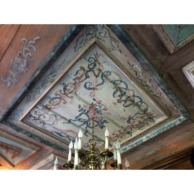 Plafond Et Bureau De Boiserie Epoque XVIIème Siècle