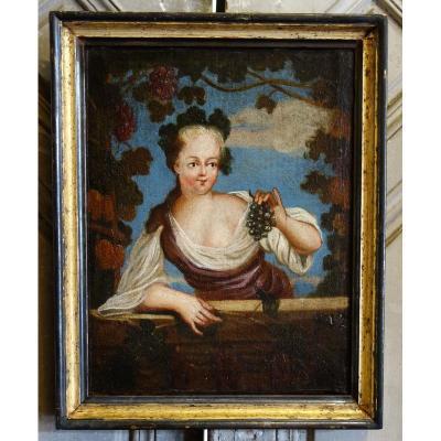 Portrait De Jeune Fille époque XVIIIème Siècle