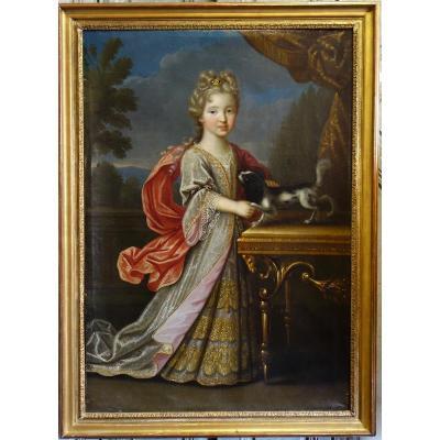Portrait d'Une Petite Fille Et Son Chien Epoque XVIIème Siècle