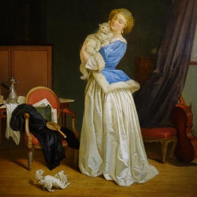 Jeune Fille au Chat Epoque XIXème Siècle
