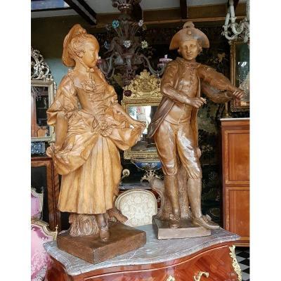 Deux Statues En Terre Cuite Début Du XIXème Siècle