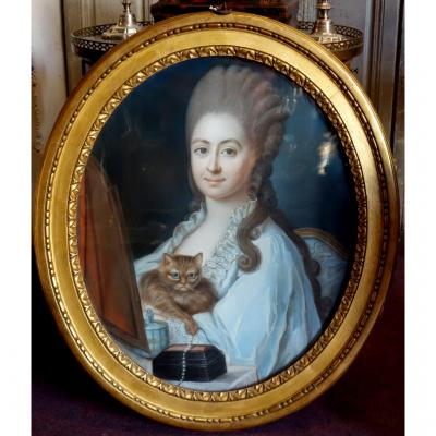 Pastel Of A Young Woman And Her Cat Louis XVI