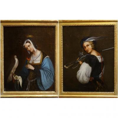 Deux Portraits Formant Pendant Début Du XIXème Siècle