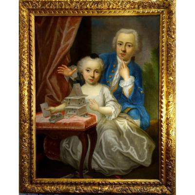 """Portraits """"le Château De Cartes"""" Epoque Louis XV"""