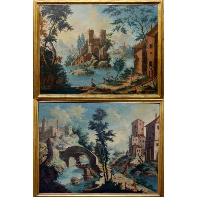 Pair Of Oil On Canvas Epoque Eighteenth Century
