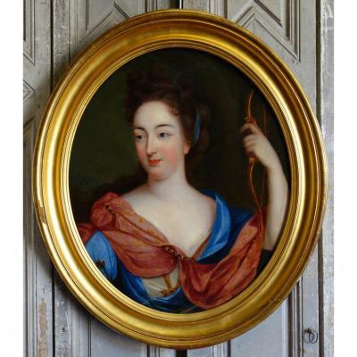 Portrait De Femme En Diane Epoque Louis XIV