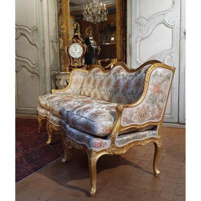 Canapé à Joues En Bois Doré Epoque Louis XV