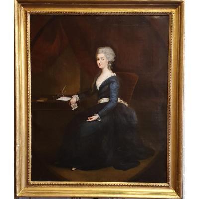 Portrait De Femme à La Lettre Fin Du XVIIIème Siècle