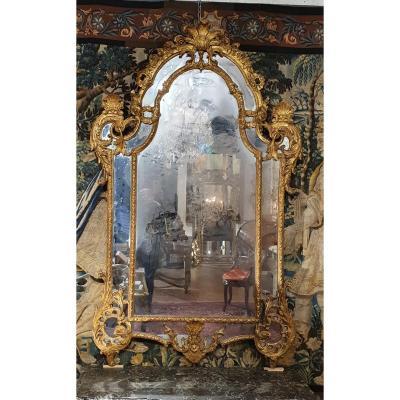 Important Miroir à Parecloses Epoque Régence