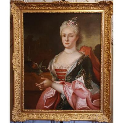Portrait Of A Woman With Parrot Louis XV Period