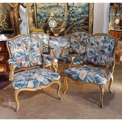 Suite Of Four Louis XV Period Armchairs