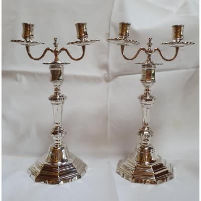 Pair Of Candlesticks With Two Lights Louis XV Period