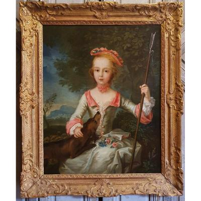 Portrait Of A Young Shepherdess Louis XV Period