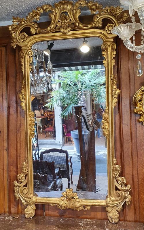 Miroir En Bois Doré Epoque XVIIIème Siècle-photo-2