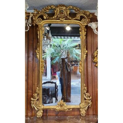 Miroir En Bois Doré Epoque XVIIIème Siècle