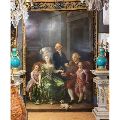 Importante Scène Familiale Epoque XVIIIème Siècle