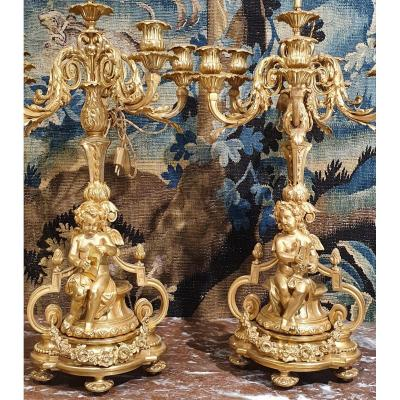 Pair Of Candelabra Napoleon III Period