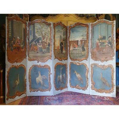 Louis XV Period Five Leaf Screen