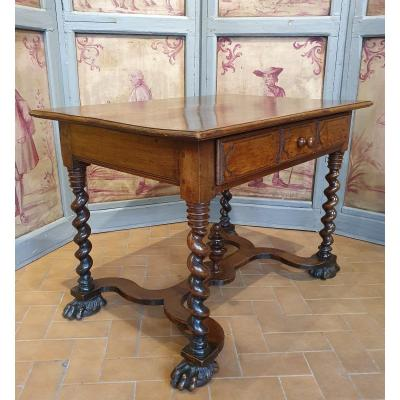 Table à Ecrire En Noyer Epoque Louis XIV