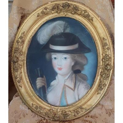 Portrait d'Une Elégante En Pastel Epoque Louis XVI