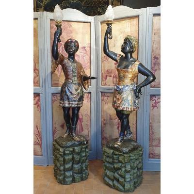 Deux Importantes Statues De Maures Du XIXème Siècle