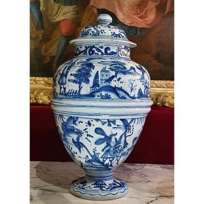 Covered Vase In Nevers Earthenware Regency Period