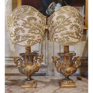 Paire De Vases En Bois Sculpté Montés En Lampes Du XVIIIème Siècle